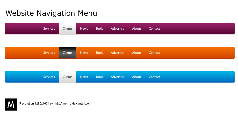 website menu navigation