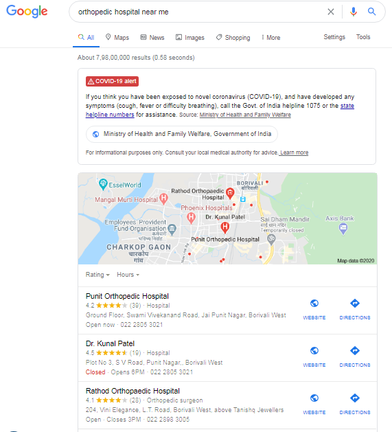 google search on orthopedic hospitals near me