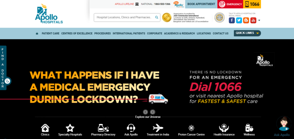 apollo hospital website